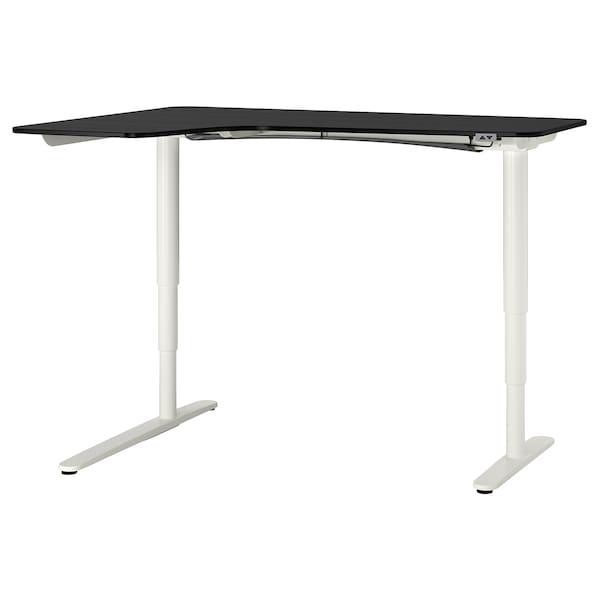 BEKANT Bureau d'angle gauche assis/debout, plaqué frêne teinté noir/blanc, 160x110 cm