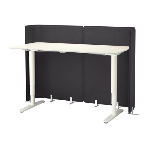 bekant bureau de r ception assis debout blanc ikea. Black Bedroom Furniture Sets. Home Design Ideas