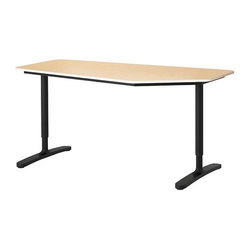 Bekant bureau polygone plaqu bouleau noir ikea for Ikea bekant coin bureau