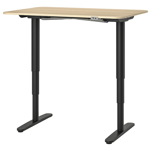 BEKANT bureau assis/debout plaqué chêne blanchi/noir 120 cm 80 cm 65 cm 125 cm 70 kg