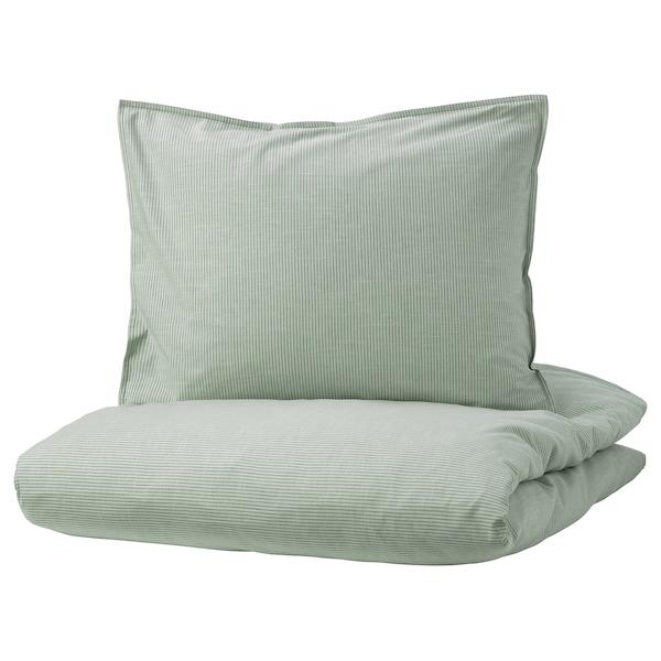 BERGPALM Housse de couette et 2 taies, vert/rayure, 240x220/50x60 cm