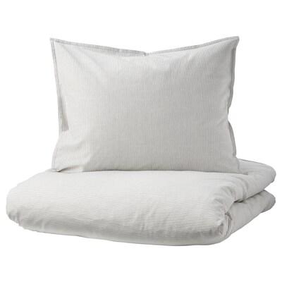 BERGPALM Housse de couette et taie, gris/rayure, 150x200/50x60 cm