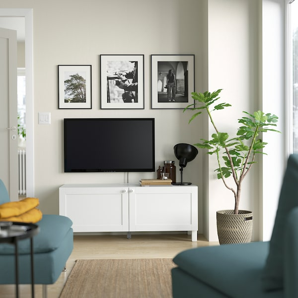 BESTÅ Banc TV avec portes, blanc Hanviken/Stubbarp/blanc, 120x42x48 cm