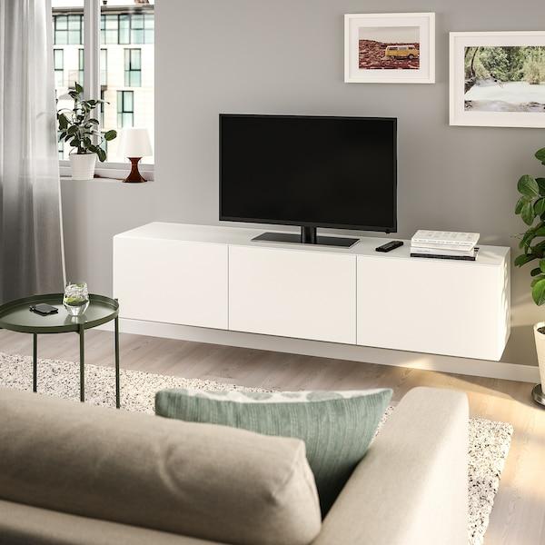BESTÅ Banc TV avec portes, blanc/Lappviken blanc, 180x42x38 cm
