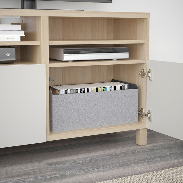 BESTÅ Banc TV avec portes, effet chêne blanchi/Lappviken/Stubbarp gris clair, 120x42x74 cm