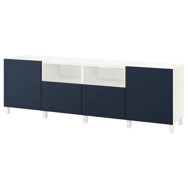 BESTÅ Banc TV avec portes et tiroirs, blanc/Notviken/Stubbarp bleu, 240x42x74 cm