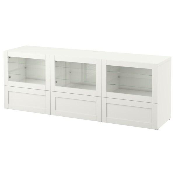 BESTÅ Banc TV avec portes et tiroirs, Hanviken/Sindvik blanc verre transparent, 180x40x64 cm