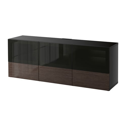 best banc tv avec portes et tiroirs brun noir selsviken. Black Bedroom Furniture Sets. Home Design Ideas