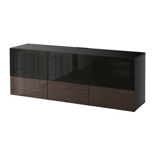 best banc tv avec portes et tiroirs brun noir selsviken. Black Bedroom Furniture Sets. Home Design Ideas