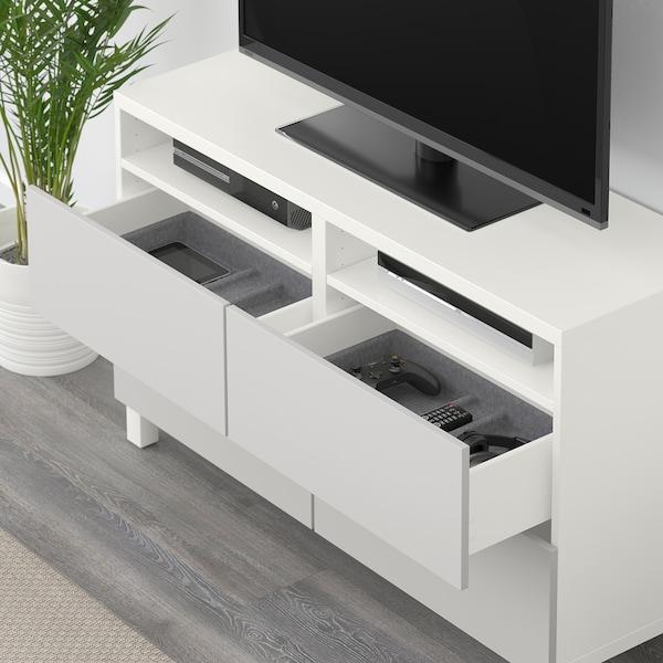 BESTÅ Banc TV avec tiroirs, blanc/Lappviken gris clair, 120x40x74 cm