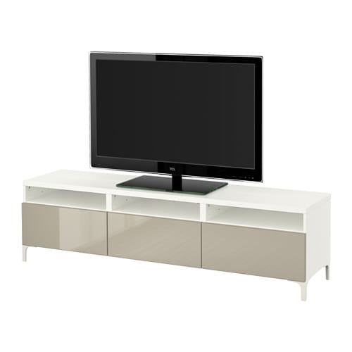 best banc tv avec tiroirs blanc selsviken brillant beige glissi re tiroir fermeture silence. Black Bedroom Furniture Sets. Home Design Ideas