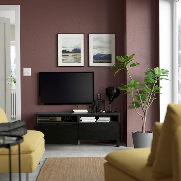 BESTÅ Banc TV avec tiroirs, brun noir/Laxviken/Stubbarp noir, 120x42x48 cm