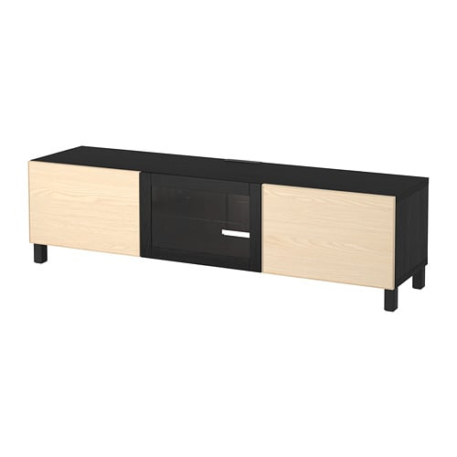 best banc tv avec tiroirs et porte brun noir inviken plaqu fr ne glissi re tiroir ouv par. Black Bedroom Furniture Sets. Home Design Ideas