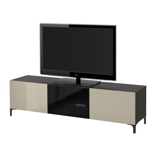 BESTÅ Banc TV avec tiroirs et porte - brun noir/Selsviken ...