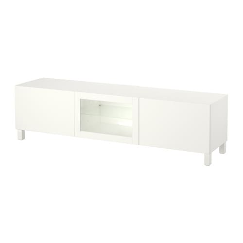 best banc tv avec tiroirs et porte lappviken blanc verre transparent glissi re tiroir ouv. Black Bedroom Furniture Sets. Home Design Ideas