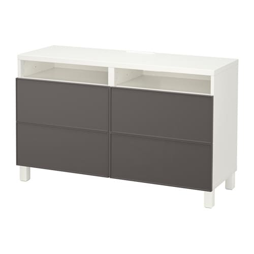 best banc tv avec tiroirs blanc grundsviken gris fonc glissi re tiroir ouv par pression ikea. Black Bedroom Furniture Sets. Home Design Ideas