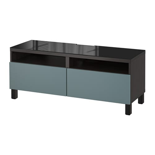best banc tv avec tiroirs brun noir valviken gris turquoise glissi re tiroir ouv par. Black Bedroom Furniture Sets. Home Design Ideas