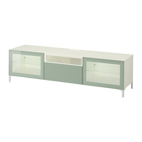 best banc tv blanc selsviken brillant gris vert clair. Black Bedroom Furniture Sets. Home Design Ideas