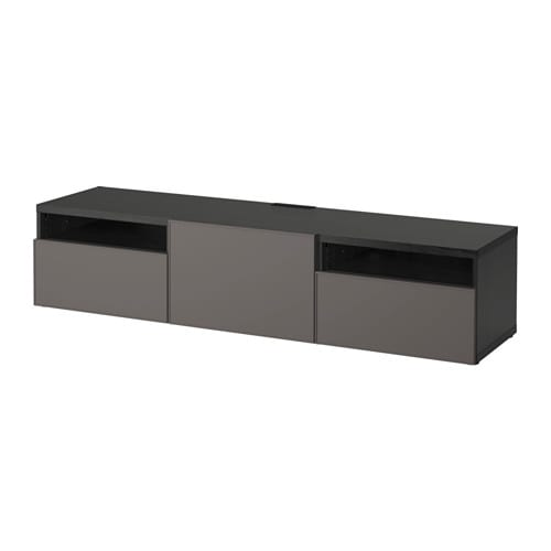 best banc tv brun noir grundsviken gris fonc glissi re tiroir fermeture silence ikea. Black Bedroom Furniture Sets. Home Design Ideas