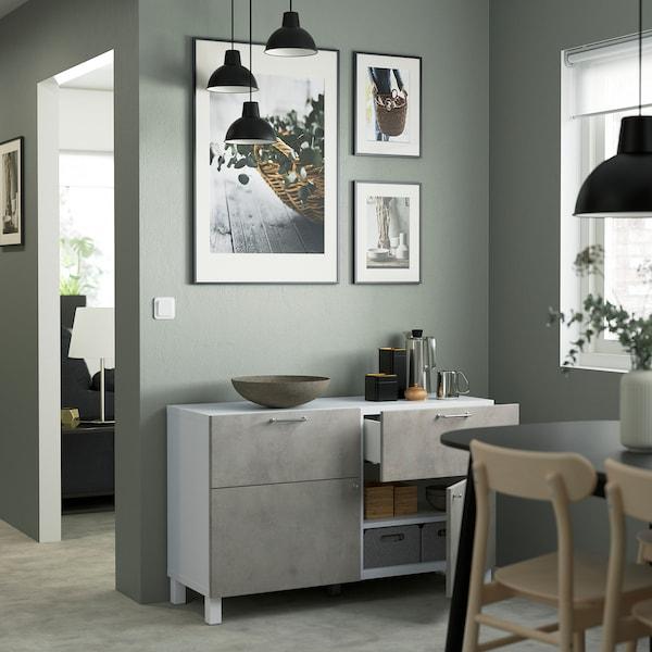 BESTÅ Combi rangement portes/tiroirs, blanc Kallviken/Stubbarp/gris clair imitation ciment, 120x42x74 cm