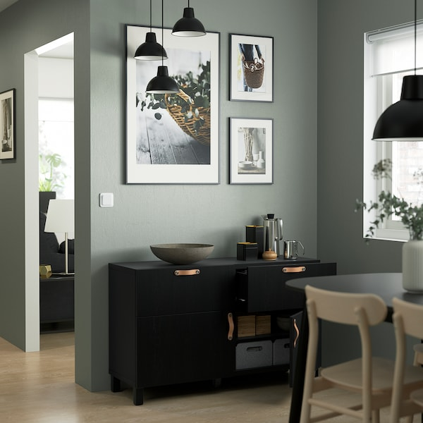 BESTÅ Combi rangement portes/tiroirs, brun noir/Lappviken/Stubbarp brun noir, 120x42x74 cm