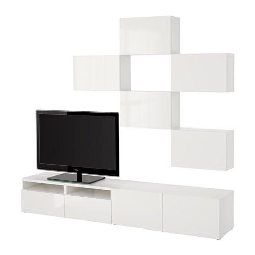 Extrêmement BESTÅ Combinaison meuble TV - blanc/Selsviken brillant/blanc  EI43