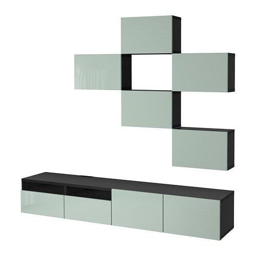 best combinaison meuble tv brun noir selsviken brillant gris vert clair glissi re tiroir. Black Bedroom Furniture Sets. Home Design Ideas