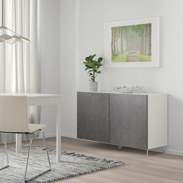 BESTÅ Combinaison rangement portes, blanc Kallviken/Stallarp/gris foncé imitation ciment, 120x40x74 cm