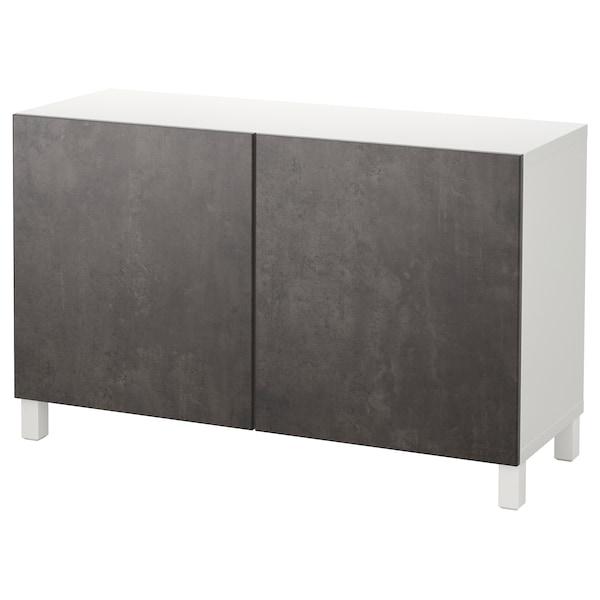 BESTÅ Combinaison rangement portes, blanc Kallviken/Stubbarp/gris foncé imitation ciment, 120x42x74 cm
