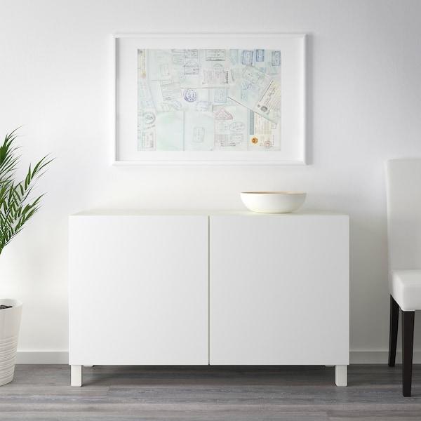 BESTÅ Combinaison rangement portes, blanc/Lappviken blanc, 120x42x65 cm
