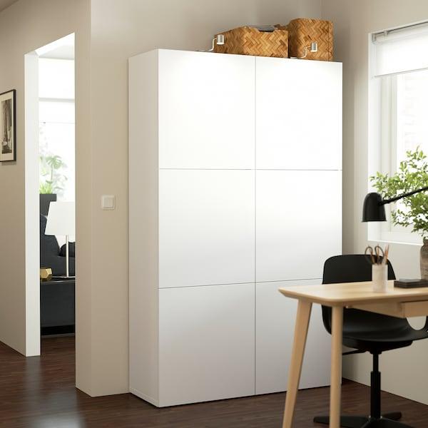BESTÅ Combinaison rangement portes, blanc/Lappviken blanc, 120x42x193 cm