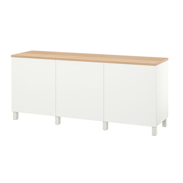 BESTÅ Combinaison rangement portes, blanc/Lappviken/Stubbarp blanc, 180x42x76 cm