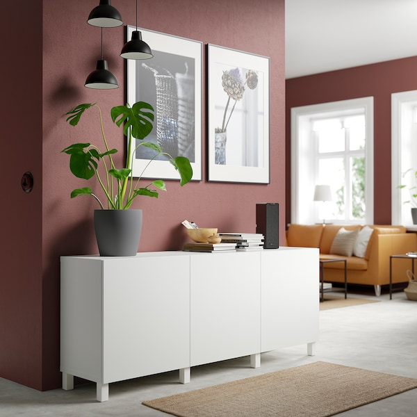 BESTÅ Combinaison rangement portes, blanc/Lappviken/Stubbarp blanc, 180x42x74 cm