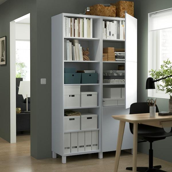 BESTÅ Combinaison rangement portes, blanc/Lappviken/Stubbarp blanc, 120x42x202 cm