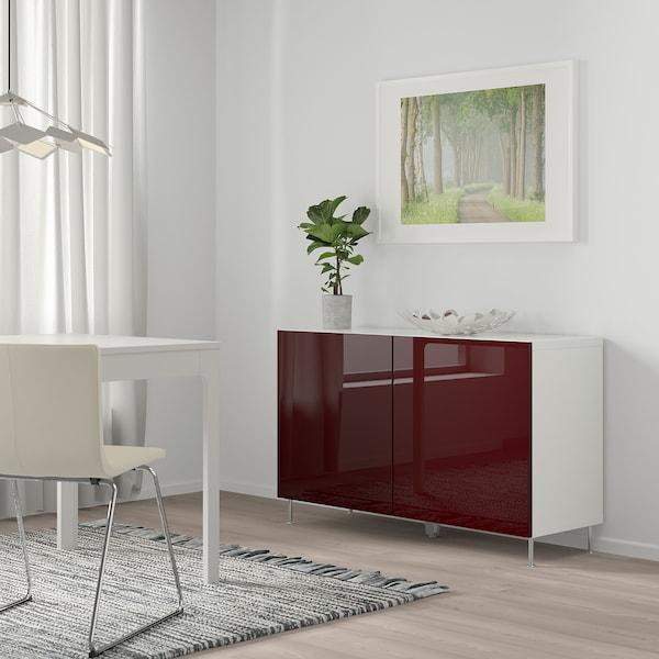 BESTÅ Combinaison rangement portes, blanc Selsviken/Stallarp/brillant brun-rouge foncé, 120x42x74 cm