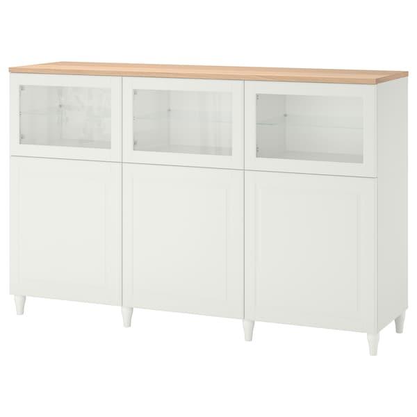 BESTÅ Combinaison rangement portes, blanc/Smeviken/Kabbarp blanc verre transparent, 180x42x114 cm