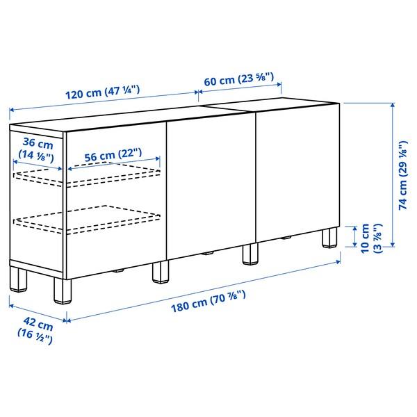 BESTÅ Combinaison rangement portes, brun noir/Hedeviken/Stubbarp plaqué chêne, 180x42x74 cm