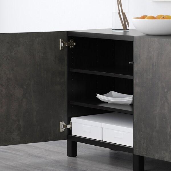 BESTÅ Combinaison rangement portes, brun noir Kallviken/gris foncé imitation ciment, 180x40x74 cm