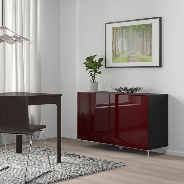 BESTÅ Combinaison rangement portes, brun noir Selsviken/Stallarp/brillant brun-rouge foncé, 120x42x74 cm