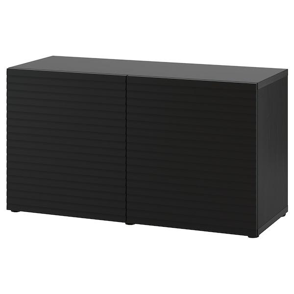 BESTÅ Combinaison rangement portes, brun noir/Stockviken anthracite, 120x42x65 cm
