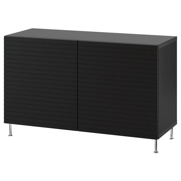 BESTÅ Combinaison rangement portes, brun noir/Stockviken/Stallarp anthracite, 120x42x74 cm