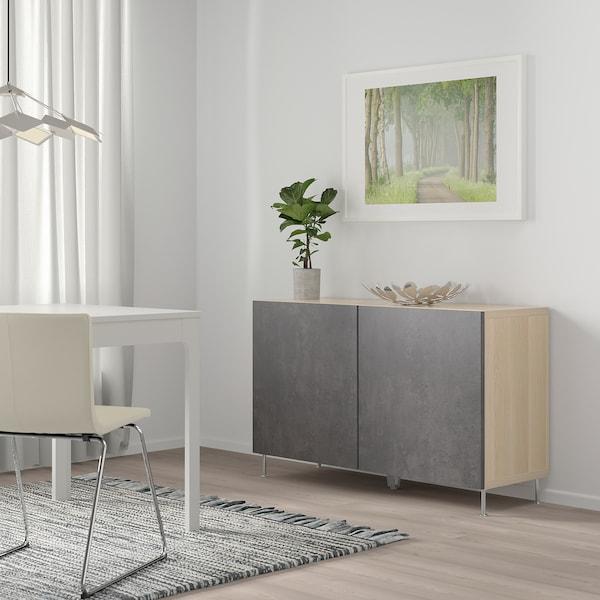 BESTÅ Combinaison rangement portes, effet chêne blanchi Kallviken/Stallarp/gris foncé imitation ciment, 120x40x74 cm