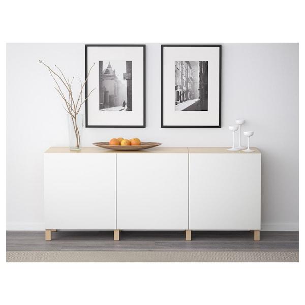 BESTÅ Combinaison rangement portes, effet chêne blanchi/Lappviken blanc, 180x42x74 cm
