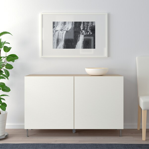 BESTÅ Combinaison rangement portes, effet chêne blanchi/Laxviken/Stallarp blanc, 120x40x74 cm