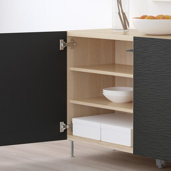 BESTÅ Combinaison rangement portes, effet chêne blanchi/Laxviken/Stallarp noir, 120x40x74 cm