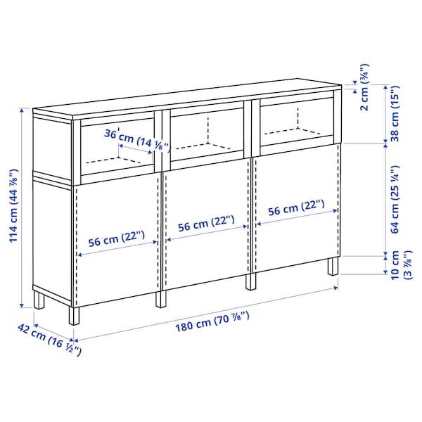 BESTÅ Combinaison rangement portes, Lappviken/Stubbarp/Sindvik blanc verre transparent, 180x42x114 cm