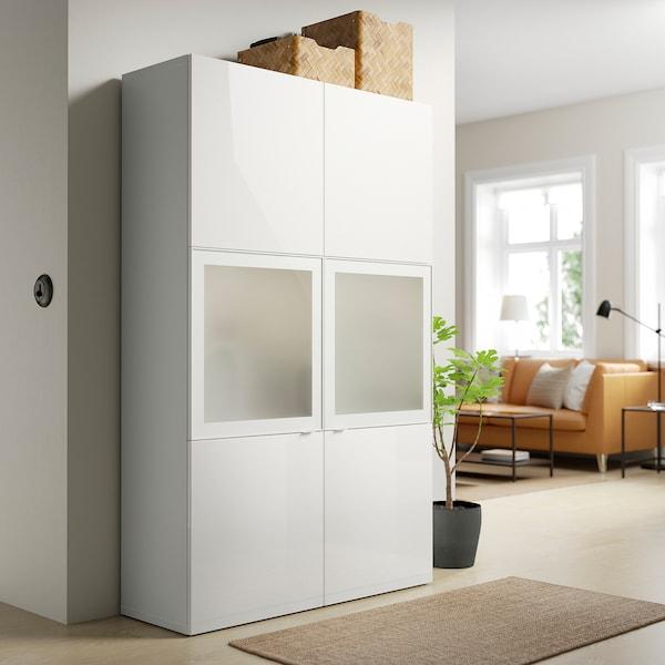 BESTÅ Combinaison rangement ptes vitrées, blanc/Selsviken brillant/blanc verre givré, 120x42x193 cm