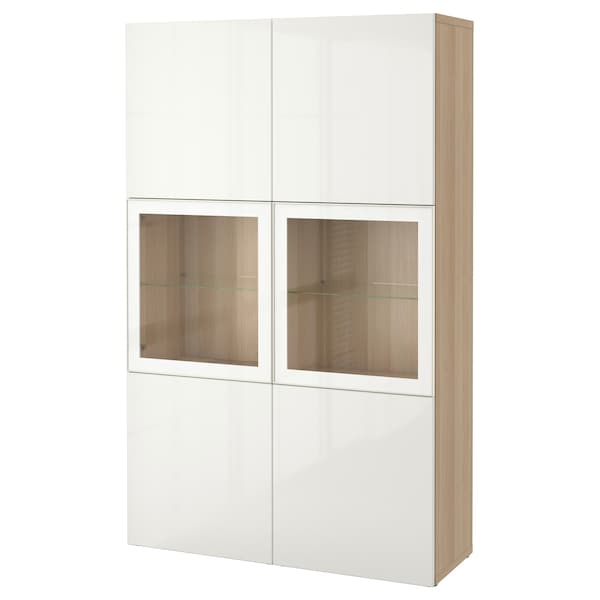 BESTÅ Combinaison rangement ptes vitrées, effet chêne blanchi/Selsviken brillant/blanc verre transparent, 120x42x193 cm
