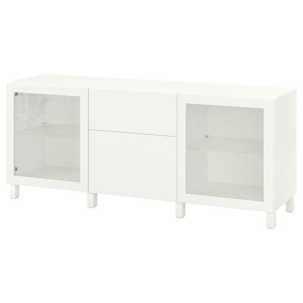 BESTÅ Combinaison rangement tiroirs, blanc Lappviken/Sindvik/Stubbarp blanc verre transparent, 180x42x74 cm