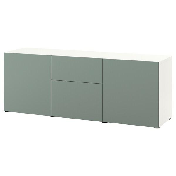BESTÅ Combinaison rangement tiroirs, blanc/Notviken gris vert, 180x42x65 cm